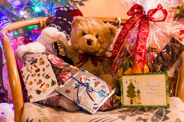 Teddy bear Dranik with Сhristmas presents