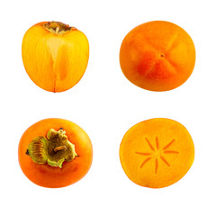 Collection of persimmon or kaki fruit isolated on white background