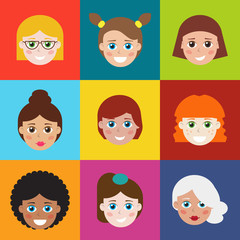 Set of avatars, flat icons for web. It can be used as - logo, pictogram, icon, infographic element.