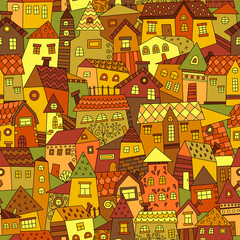 Doodle hand drawn town seamless pattern. Can be used for textile, website background, book cover, packaging.