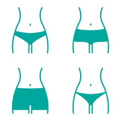 Turquoise set with various women panties, views front. Vector illustration