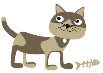 cat and fish, vector icon, funny single illustration