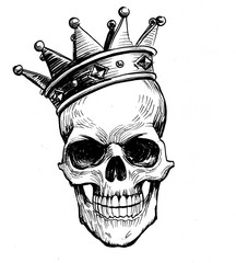 Black and white ink illustration of a human skull in crown