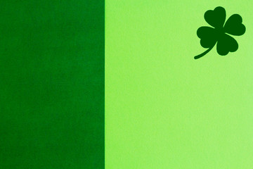 Picture of Saint Patricks Day background with clover over green copy space