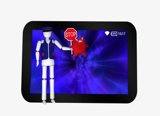 """Tablet in schwarz mit blauem display. Vor dem Bildschirm steht eine Figur mit dem Text """"Internet-Sicherheit"""" und Stoppschild, das sie einem Virus vorhält."""