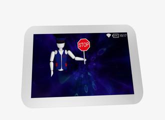 Tablet in weiß mit blauem display. Aus dem Bildschirm kommt eine Marionette mit Uniform und Stoppschild.