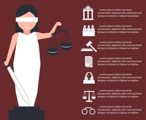 Lady justice or Iustitia in flat stile