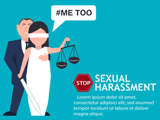 Sexual harassment poster with Lady Justice