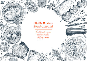 Middle eastern cuisine top view frame. Food menu design with hummus, kebab, shawarma, gefilte fish, matzoh ball soup. Vintage hand drawn sketch vector illustration. Middle eastern traditional food.
