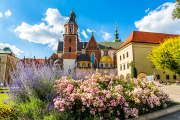 Amazing view of historic royal Wawel Castle and Cathedral in Cracow, Poland. Artistic picture. Beauty world.