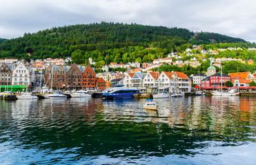 Bergen, Norway. View of historical buildings in Bryggen- Hanseatic wharf in Bergen, Norway. UNESCO World Heritage Site. Artistic picture. Beauty world.