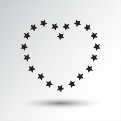 Heart with stars, black icon with shadow. Vector illustration