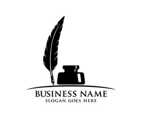 ink and fountain pen quill vector logo design