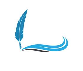 blue wave fountain pen quill vector logo design