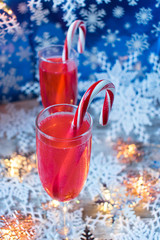 festive Christmas drinks with candycanes and snowflakes