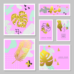 Golden Glitter Tropical Cards Set. Memphis Abstract Poster, Banner, Placard Template with Gold Palm Leaves. Vector illustration