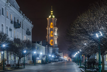 Belfry of the Cathedral with an evening architectural illumination