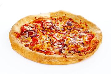 Italian Pizza Margherita Margarita with tomato and Mozzarella cheese background. Pizza wallpaper. Margharita pizza closeup background. Vegetarian pizza macro texture cheese and tomato and onion.