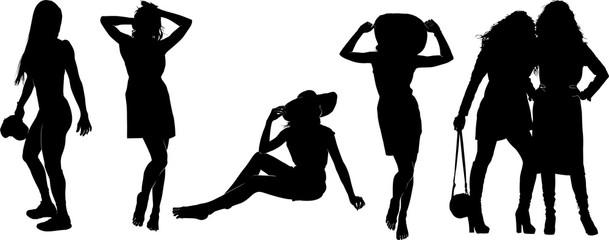 ファッショナブルな女性のシルエット