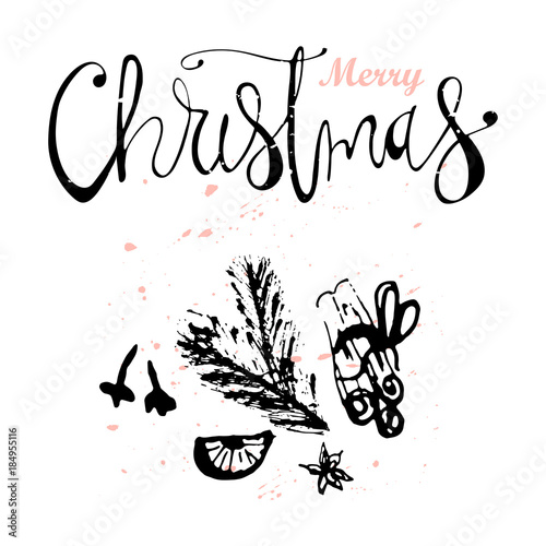 merry christmas hand drawn abstract universal background with hand