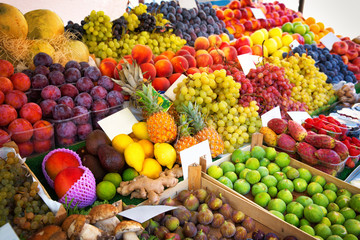 Colorful various fruits and vegetables.