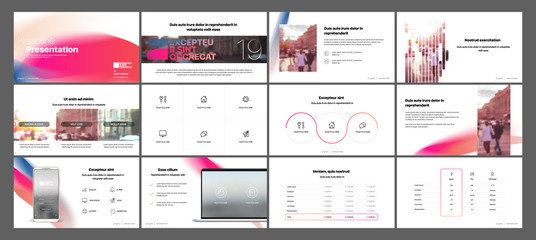 Gradient minimal presentation templates elements on a white background. Vector infographics. Use in Presentation, flyer and leaflet, corporate report, marketing, advertising, annual report, banner.