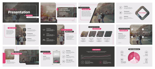Pink black minimal presentation templates elements on a white background. Vector infographics. Use in Presentation, flyer and leaflet, corporate report, marketing, advertising, annual report, banner. Wall mural