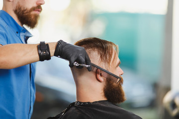 Close up of male professional hairdresser serving client by scissors. Ginger handsome stylish young man with big beard, short hair getting trendy haircut in black cape. Light white barber shop room.