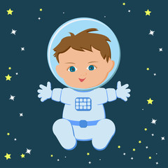 Cute sitting baby boy astronaut in a spacecuit and helmet isolated on a stary dark blue sky background.