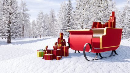 Santa claus sleigh full of christmas gifts among snow covered fir tree forest at sunny winter day. Fantasy 3D illustration for Xmas or New Year holidays.