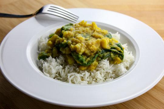Vegetarian Cauliflower and Spinach Dal