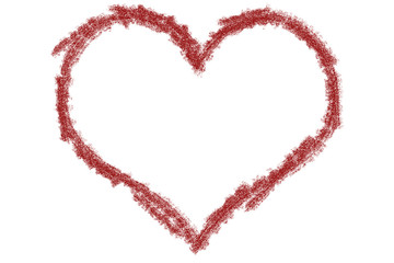 Drawing heart on a red background