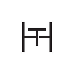 Initial letter H and T, HT, TH, overlapping T inside H, line art logo, black monogram color