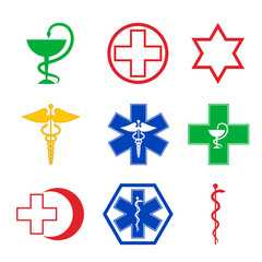 set of medical emblems