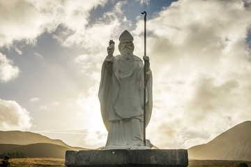 Statue of Saint Patrick at Croagh Patrick in Ireland Wall mural