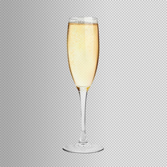 A glass of champagne on an isolated background. Vector.