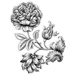 Rose flower vintage Baroque Victorian frame border floral ornament leaf scroll engraved retro pattern decorative design tattoo black and white filigree calligraphic vector