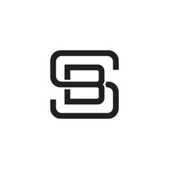 Initial Letter S And B SB BS Overlapping Inside Line