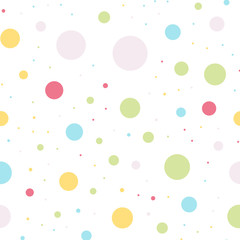 Colorful polka dots seamless pattern on white 4 background. Enchanting classic colorful polka dots textile pattern. Seamless scattered confetti fall chaotic decor. Abstract vector illustration.