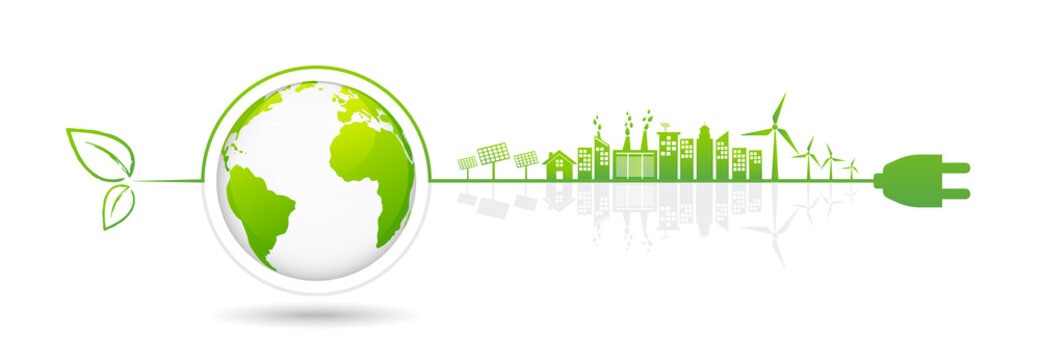 Banner design elements for sustainable energy development, vector illustration