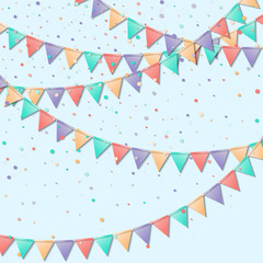 Bunting flags. Marvelous celebration card. Colorful holiday decorations and confetti. Bunting flags vector illustration.