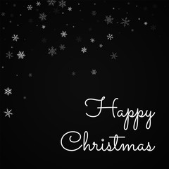Happy Christmas greeting card. Sparse snowfall background. Sparse snowfall on red background. Gorgeous vector illustration.