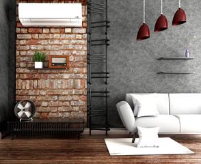 Modern Loft living room interior. 3D rendering