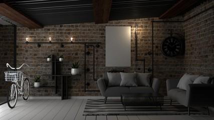 Loft living room interior design. 3D renderin