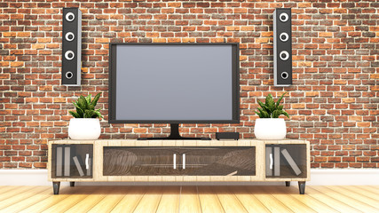 Tv room with loft wall background. 3D rendering