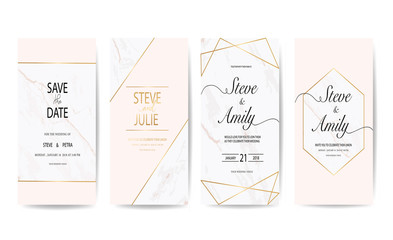 wedding invitation card with marble