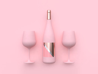 abstract pink two wine glass and wine bottle 3d rendering