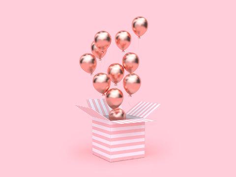pink white gift box many metallic balloon floating 3d rendering