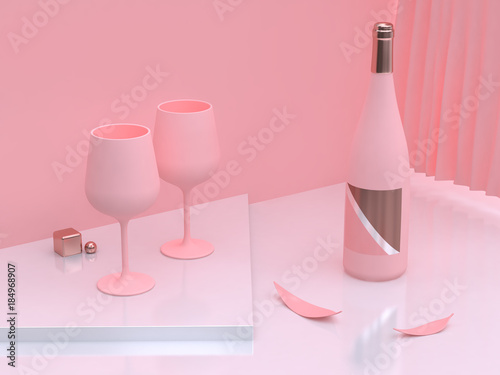 abstract scene abstract pink two wine glass and wine bottle