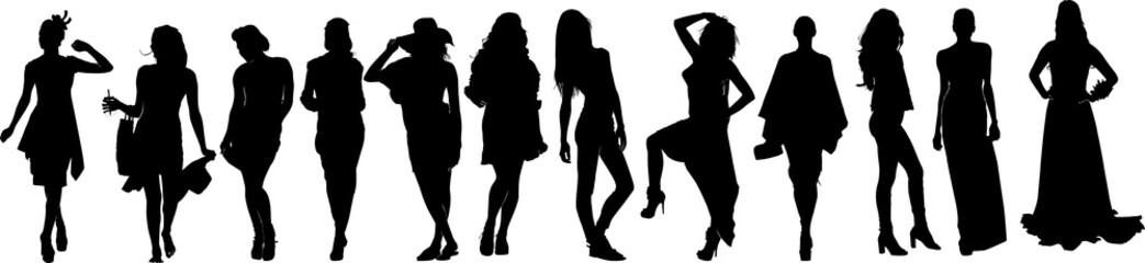 セレブな女性モデルたちのシルエット